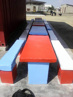 Our feeding programme benches have been newly painted to cater for the increase of children taking part this term