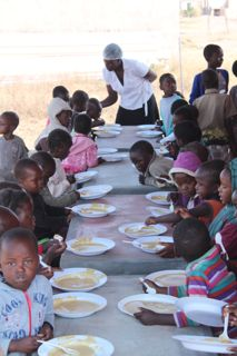 Children eat in groups of 50 to allow us to feed all 200 by mid morning